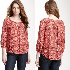 Lucky Brand Ikat Canyon Printed Blouse Women Small